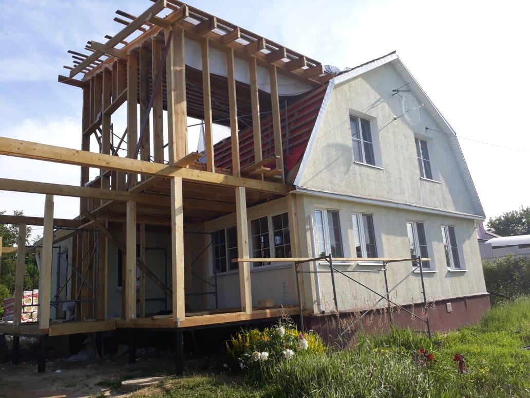 пристрой к деревянному дому с мансардой фото